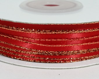 """1/8"""" Satin Ribbon with Gold Edge - Red"""