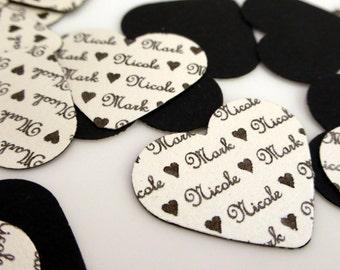 Personalised Wedding Heart Confetti , Black & Pearl - set of 50