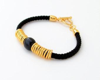 Bohemian Bracelet, Delicate Cord Bracelet, Friendship Bracelet, Beaded Bracelet, Boho Bracelet, Black Bracelet