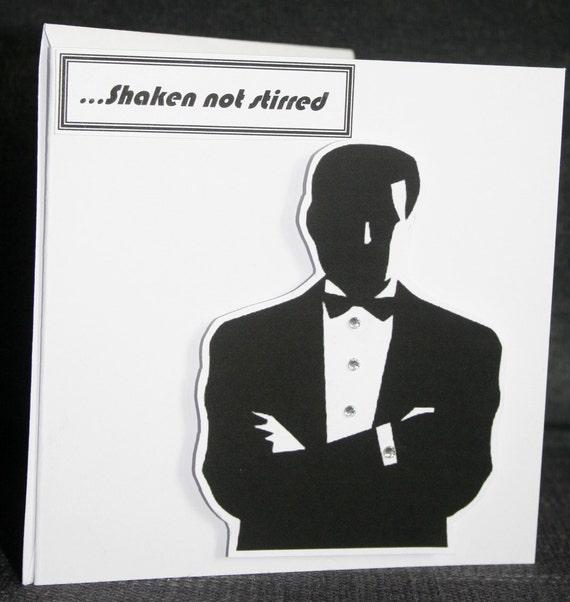 Handmade silhouette style blank 'Secret Agent' card