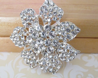 Rhinestone Flower Brooch / Bridal Brooch / Pearl and Crystal Brooch Component / SQB-13