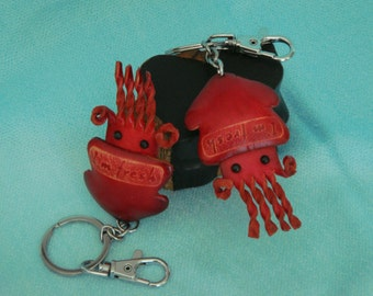 Genuine Leather key-chain/bag-charm, cute Squid shape, burgundy, well made.