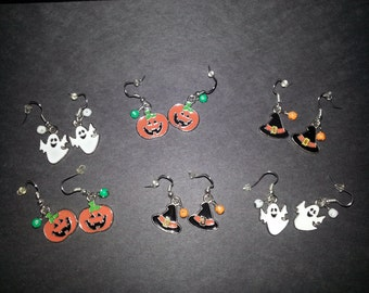 Kids Enamel Halloween Earrings(Pumpkins,Witch Hat,Ghost)