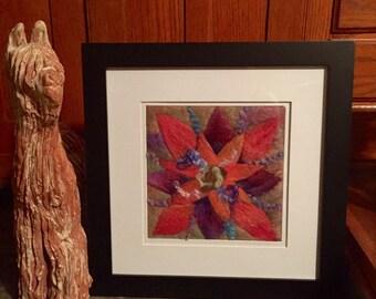 Needle Felted Framed Flower