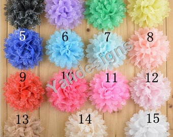 U Pick 11CM 4.3'' inch Wholesale Chiffon Flower Silver Line/ Shoes Headband/Flower Headdress DIY Fabric Headband Accessories-YTA49