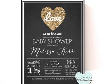 Baby Shower Invitation - Valentine Baby Shower Invite - Love is in the Air - Gold Glitter Heart - Typography - Printable No.424BRIDE