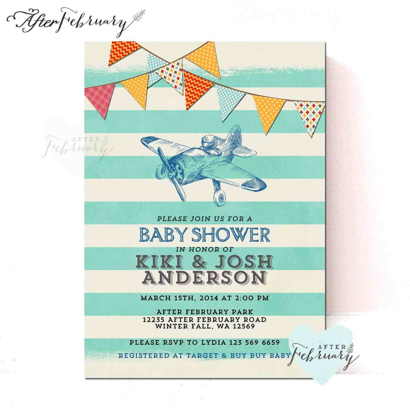 airplane baby shower invitation baby boy shower invite