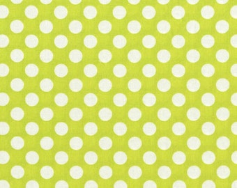 Michael Miller fabric in Ta Dot lime green polka dot fabric