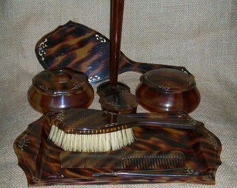 Antique Celluloid Dresser Set