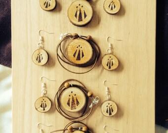 Awen pendant, Awen earrings, Druidic Pendant, Druid necklace, Druid Pendant, Druid earrings