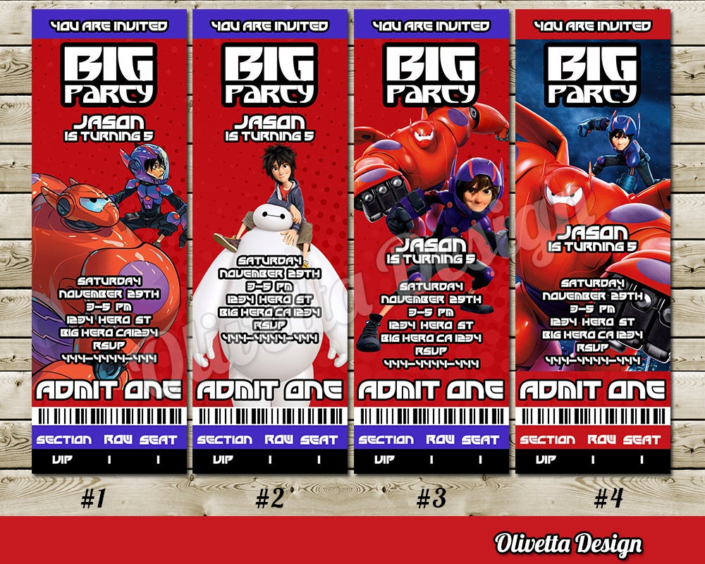 Big Hero 6 Invitation for Birthday Party Ticket Vip Pass Admit