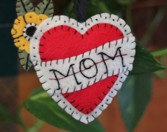 Mom Heart Tattoo Ornament