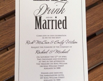 Eat, Drink and be Married Wedding Invitation. Includes matching RSVP card and envelopes