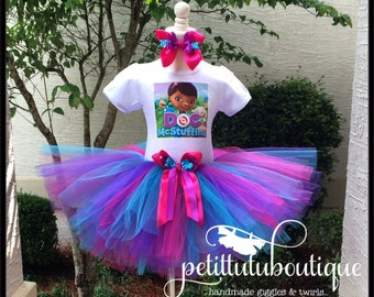 Doc McStuffins Birthday Tutu set any size available 12m to 10/12y FREE Personalization Name and Age