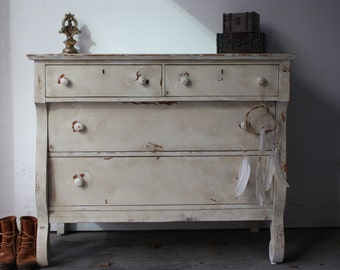 SOLD- Shabby Chic, Antique, Heavily Distressed Empire Dresser - Item 0039