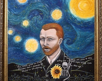 Van gogh starry night Pop Surrealism  Giclee Art Print