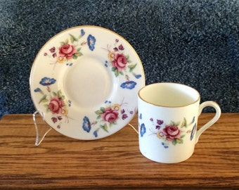 Vintage Demitasse Teacup and Saucer made in England by Harleigh China