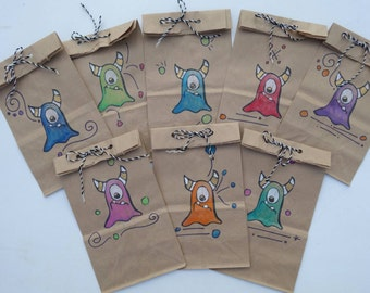 BEST SELLER! Monster Party Favor Gift Bags-Made to Order-Free Shipping-Handmade