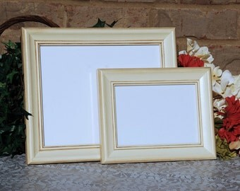 Shabby cottage chic photo frames: Set of 2 vintage antique ivory hand-painted decorative wooden wall collage gallery picture frames