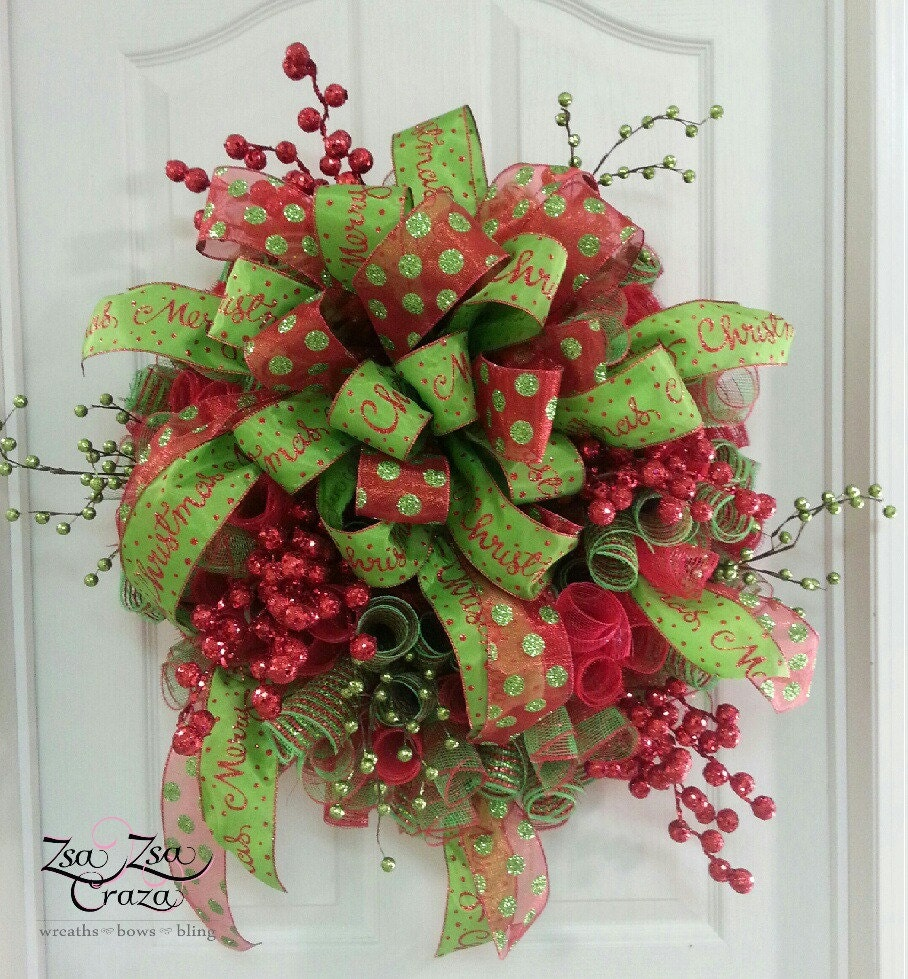 Christmas berry deco mesh wreath by zsazsacraza on etsy