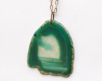 Large Heavy GemStone on Pendant with long chain