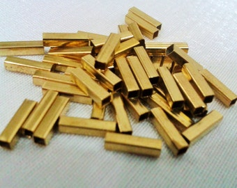 100 Pcs Raw Brass 2 x 8 mm Geometrik Square Tube, Square Shape,Findings ,