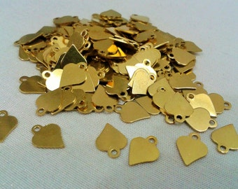 200 Pcs  8 x 10 mm Raw Brass  Heart Findings