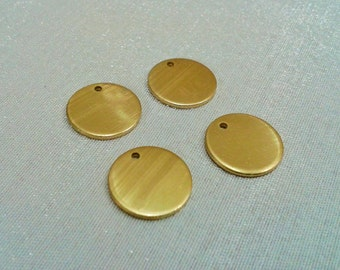 25 Pcs Raw Brass 14 mm Round Stamping Blank Disc -  ( 1  Hole -Thickness Of 1 mm ) 18 Gauge