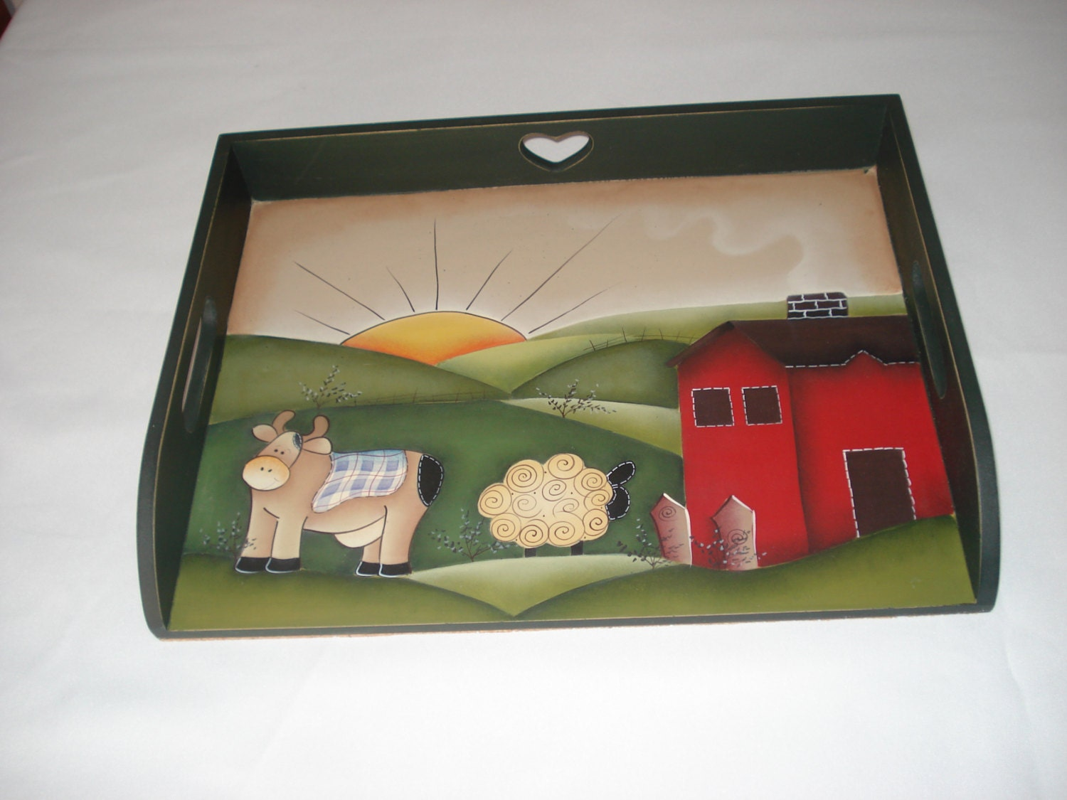 Wood Tray Kitchen Decor Kitchen Art Wood Painted Country