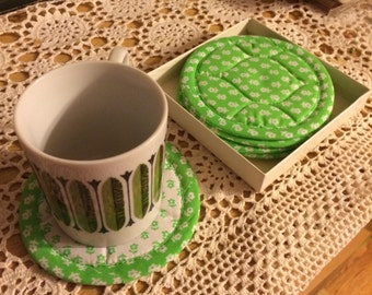 Vintage Lime Green Quilted Coasters