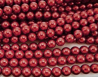 Vivid Burgundy Pearl, Czech Round Glass Imitation Pearls in 2mm, 3mm, 4mm, 6mm, 8mm, 10mm, 12mm