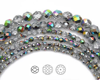 4mm (102pcs) Crystal Vitrail coated, Czech Fire Polished Round Faceted Glass Beads