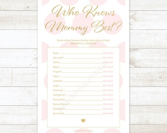 pink and gold who knows mommy best? baby shower game pink and gold baby shower game - INSTANT DOWNLOAD