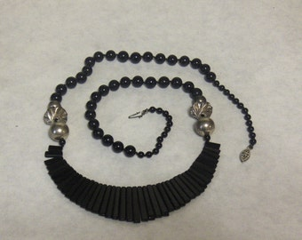 Black Onyx Long Necklace with Silver Accents and Filigree Clasp