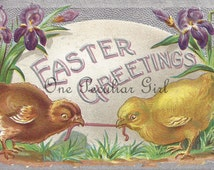 Antique Easter postcard of chicks playing tug-of-war with a worm infront of a giant Easter egg INSTANT download