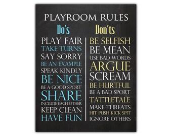 Playroom wall decor - playroom art for kids - fun room art - chalkboard wall art - printable child rules - kids rules print - rules sign