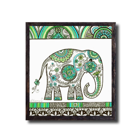 Elephant Art Wall Decor Ooak Blue Green Drawing Large Giclee
