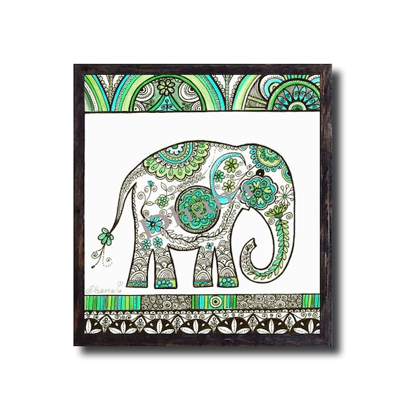 Elephant art wall decor ooak blue green drawing large giclee Colorful elephant home decor