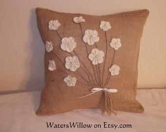 Burlap Pillow With Muslin Flowers - Handmade