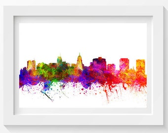 Madison Wisconsin Skyline In Color Poster, Home Decor, Gift Idea 02