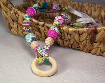 Natural Fabric Teething Necklace with Wood Ring - Multicolor