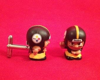 NFL Minifigures Cufflinks - Pittsburgh Steelers Football Cufflinks - Handmade Steelers Cufflinks