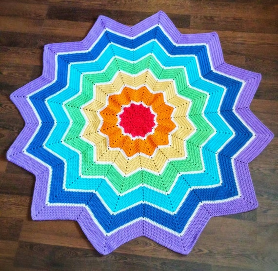 Rainbow 12 Point Round Ripple Crochet Afghan Star Toddler Baby