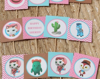 SALE Sheriff Callie Instant Download Cupcake toppers, printable party decorations, coordinating items available, DIY, western party, cowgirl