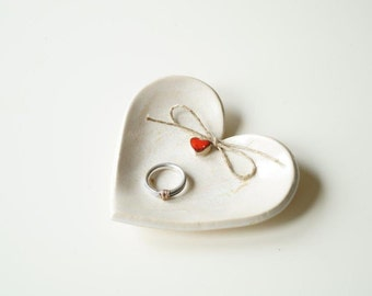 Wedding Ring Plate, Wedding Ring Holder, Engagement Gift Ring Bowl, Wedding Gift, Ceramic Plate, Red Heart Plate , Ceramics and Pottery