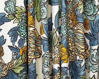 Ming Dragon Curtains Robert Allen Curtains Rod Pocket Draperies Dwell Studio Aquatint, Admiral, Persimmon, Cream ONE PAIR