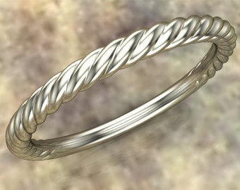 Twisted 14K White Gold Wedding Band