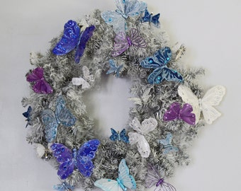 Christmas Wreath, Pine Wreath,  Door Wreath, Holiday Wreath, Butterfly Fantasy, Ready to Ship!