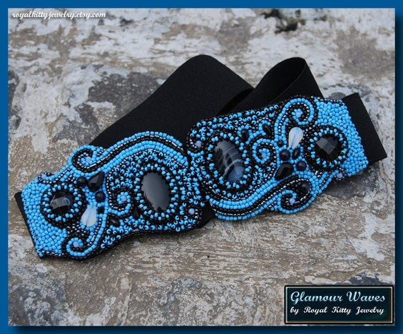 Glamour Waves Belt, handmade belt, blue belt, black belt, beaded belt, bead embroidery, beadwork art, fire art