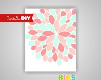 Printable DIY Girl Nursery Art Print, Light Coral, Mint, Abstract Flower, 8x10 JPG file ( other )